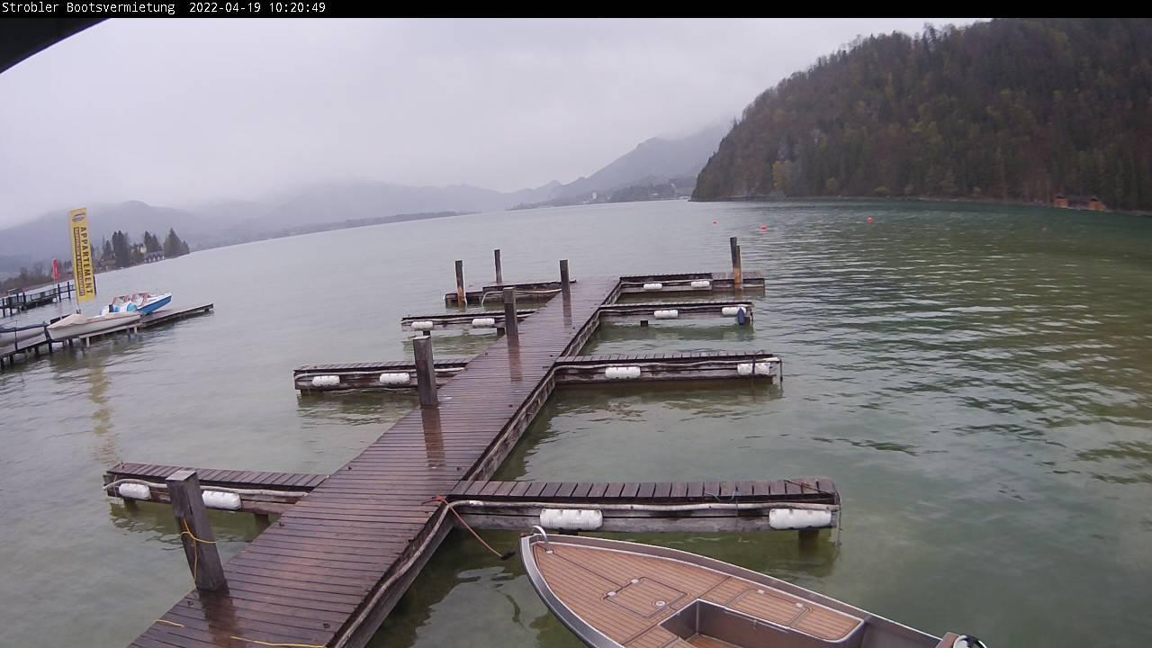WEBkamera Strobl - pohled na Wolfgangsee u půjčovny lodí